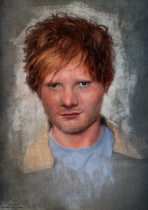 Something that I made for Ed Sheeran's 22nd birthday. I hate painting his hair, I swear to God, I was about to quit this painting because of his hair. I had fun playing with skin tones though. Happy birthday, mayt!