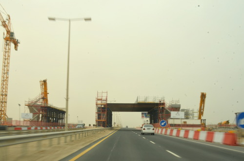 The link bridge to the Lusail Rail Depot on the Al Khor highway. Construction in full swing for QRail.