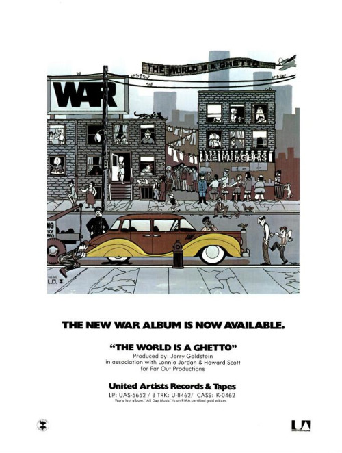 Promo advertisement for War, 'The World is a Ghetto', November 1972