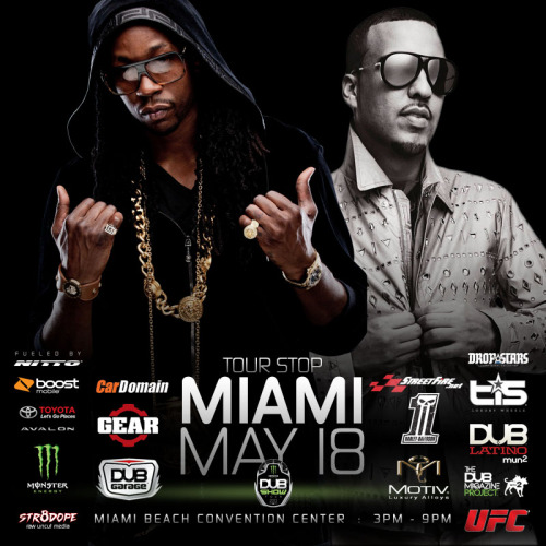 Dub Car Show with @2Chainz & @FrenchMontana at The Miami Beach Convention Center on Sat, May 18, 2013 03:00 PM Buy tickets here: http://www.ticketmaster.com/event/0D004A9DBB4E58DC