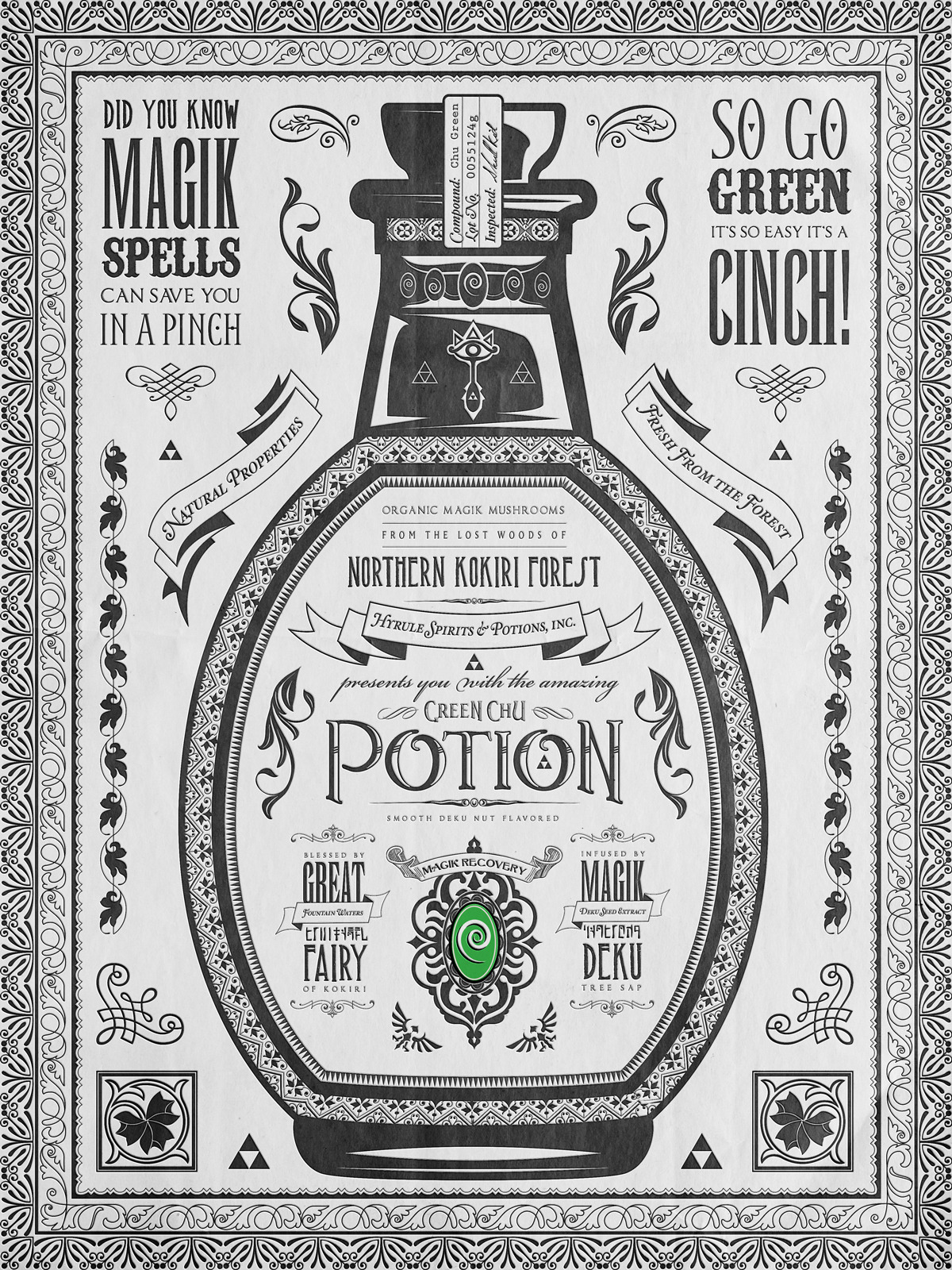 Legend of Zelda Vintage Green Chu Potion Advertisement Poster.Part 2 of 3 Potions Series. Highest quality 16x20 gliceè archival matte prints available at my etsy art shop! ©2013 Barrett Biggers, the People's Multimedia Artist.
