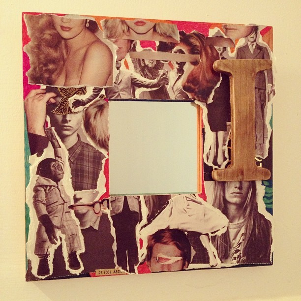 Covered a mirror frame :) #collage #frame #mirror #bathroom #diyikea #ikearemix