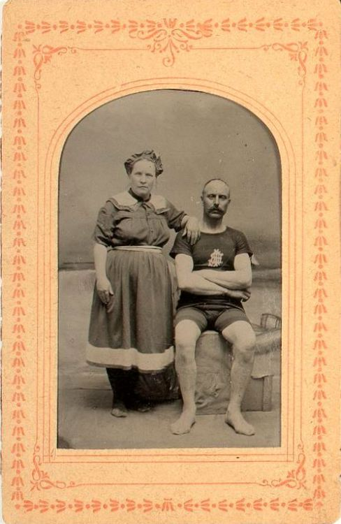 ca. 1870-1900's, [studio tintype portrait of a couple in swim wear] via Cowan's Auctions