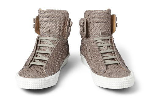 Jimmy Choo Albion Snakeskin-Effect Leather High Top Sneakers ($1,145)