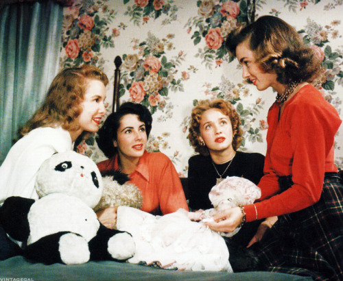 Janet Leigh,Elizabeth Taylor, Jane Powell and Ann Blyth in a publicity still for Little Women (1949)