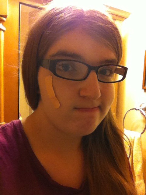 queerbeardeddragon:  I got a cut on my face so now I'm sporting the band-aid accessory from Animal Crossing.