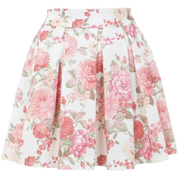 Miss Selfridge Floral Print Skater Skirt   ❤ liked on Polyvore (see more skater skirts)