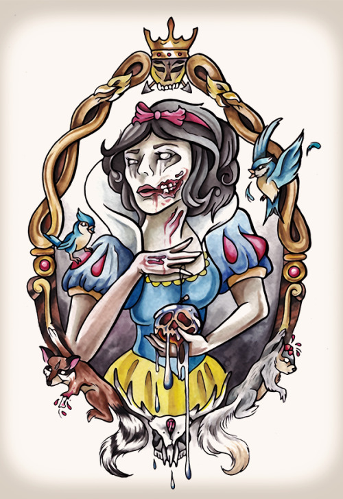 'Zombie Snow White' Tattoo commission complete! Ink & watercolour on 300gsm.