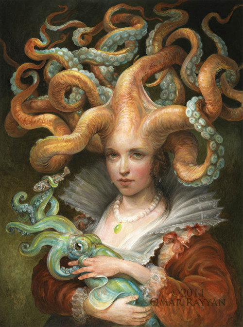 Moms = Awesome We think this spectacularly tentacular painting perfectly illustrates that fact. Entitled Contessa with Squid (oil on panel, 2011), this is the work of Omar Rayyan, a gifted artist and illustrator based on Martha's Vineyard, Massachusetts. All of us here at the Geyser of Awesome would like to wish all of you awesome moms out there a very happy Mother's Day. Thank you for all that you've done and all that you do. [Image via SteampunkOrama]