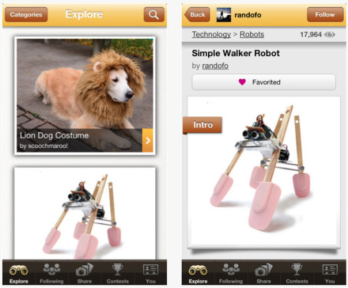 Huzzah - excite!  laughingsquid:  Instructables Releases App for iPhone & iPad