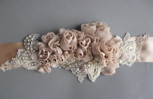 (via Wedding bridal sash belt Vintage Nude Terracotta by LeFlowers)