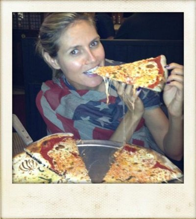 heidi klum eating pizza