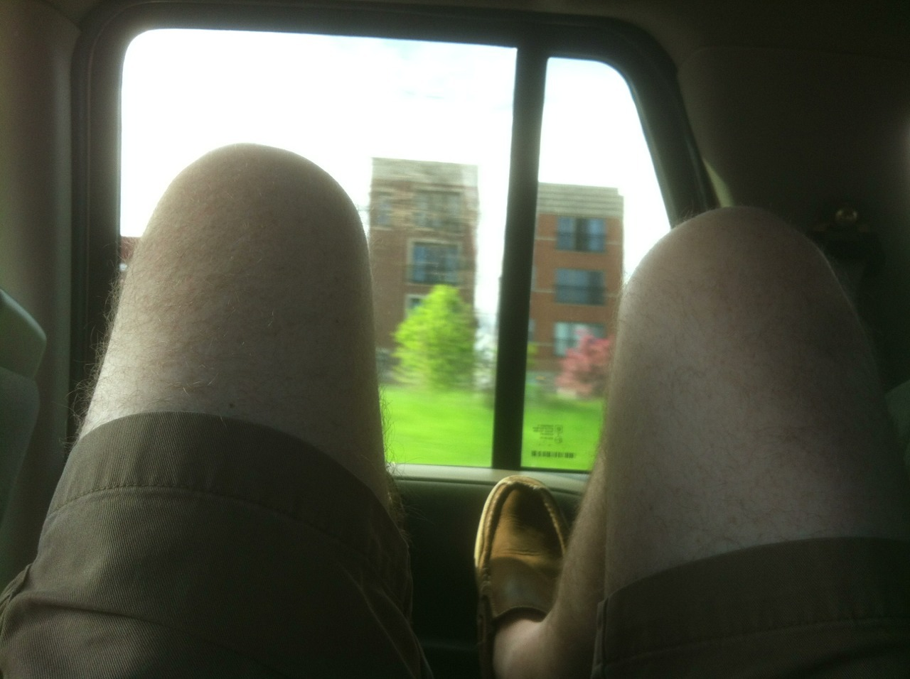 Gratuitous picture of my knees. This is how I ride in cars at the moment.