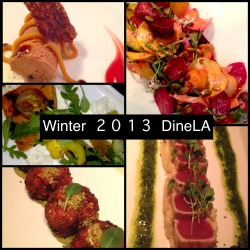 With #DineLa coming to an end today here are some of the favorites I've had! Frozen Chocolate Soufflé - Caulfields Fresh Buratta with Roasted Winter Vegetables - Scarpetta Carrot Fritters with Pistachio - Bazaar Roasted Beet salad with Carrots and Raw Beets - Caulfields Seared Ahi Tuna with Wasabi Mashed Potatoes - Asia De Cuba
