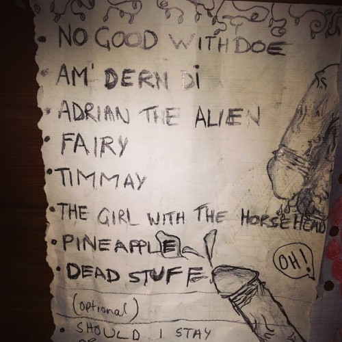 Old set list.