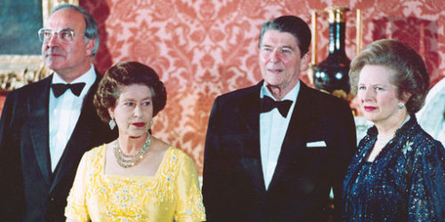 Margaret Thatcher with the Queen and Ronald Reagan. The Iron Lady died today at 87.