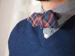 dailydoseofmenswear:  Dressedtoill.com  Nice #plaid #bowtie and micro-check shirt matching sweater