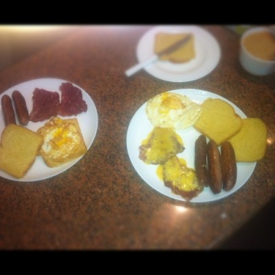 His and Hers breakfast!!!  (at Diani Springs Apartments)