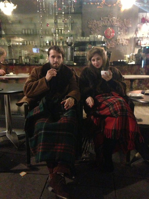 Contrasting Tartan blankets, coffee and cigs. Survival tools for this frosty Canterbury evening.