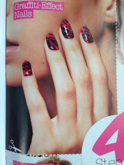 Graffiti-Effect Nails for Look Magazine by Sophie Harris-Greenslade at The Illustrated Nail.
