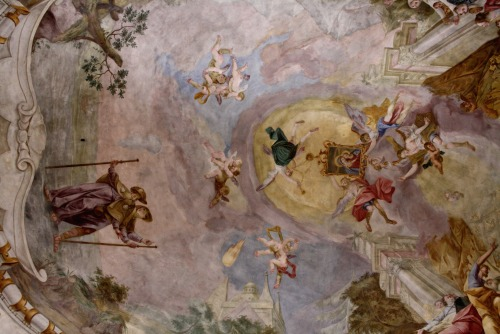 A ceiling painting of the miraculous transportation of the image of Our Lady of Good Counsel in the pilgrimage church of Maria vom Guten Rat in Boeckstein, Austria.