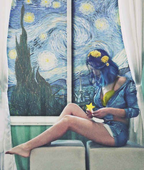 starry night van gogh art collage grunge indie window blue hair blue yellow me mobile photography