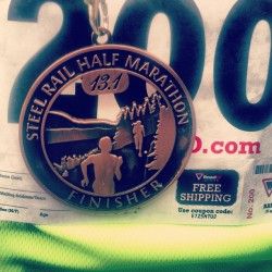 Officially a finisher… Haha beer time! #steelrail #running #mycalveshurt
