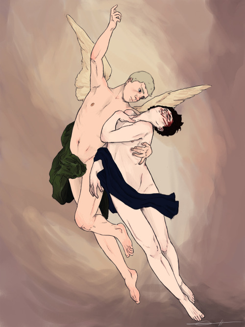 drwtsn:  okay guys so here it is i reproduced The Abduction Of Psyche by Emile Signol for the second letsdrawsherlock project  i finally decided to erase Sherlock's butterfly wings because they didn't fit with the composition im sorry for the angst hope you like it!(⌒▽⌒)