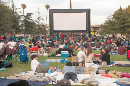 This Summer Downtown Has Not One, But Four Outdoor Movie Series  When it comes to enjoying a night at the movies in Downtown Los Angeles, people don't have to put up with the confines of four walls, a roof and paying $6 for a small popcorn. This summer, Downtown movie fans can take advantage of four outdoor movie series. The events offer everything from classics to comedies to family friendly fare. Some even throw live music and food trucks into the mix, and one series is free. Here is a rundown of the al fresco film action.