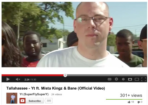 "Screen Shot of Stess' brief cameo in YT's new video ""Tallahassee""."