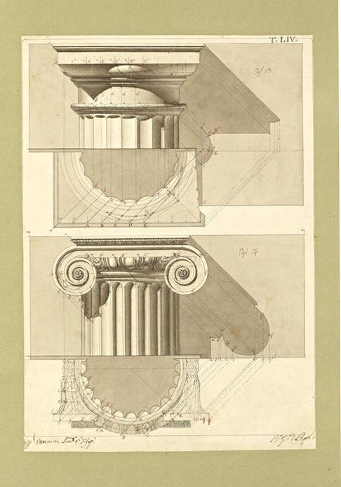 design-is-fine:  Giuseppe Vannini, architectural drawings, 1818-1850. For his work Elementi della architettura civile.Pen and ink, sepia wash. Via Getty Open Content.