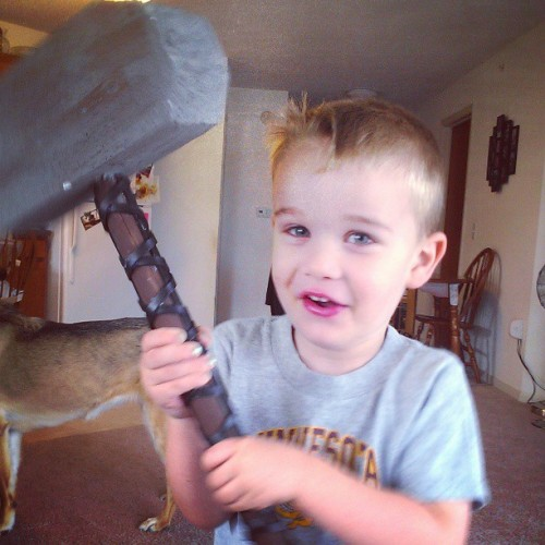 Swinging his handmade #Mjolnir. Super fierce. #Thor #Marvel