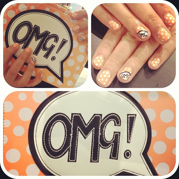 Matching nails and handbag swag! #omg #orange #polkadots #nailart #nailjunkie #nailinspo #glossin
