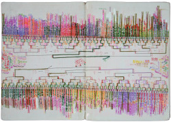 Pages from a notebook by Shingo Ikeda. Found here.