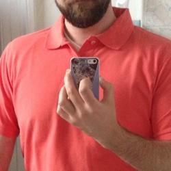 Coral party/first polo of the year/first afternoon at new job/it's going to be sweaty balls hot today/I did not sleep well last night and I'm cracked out