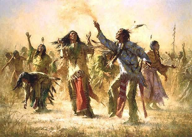 Ghost Dance  The Ghost Dance religion (or movement) was an answer to the subjugation of Native Americans by the U.S. government. It was an attempt to revitalize traditional culture and to find a way to face increasing poverty, hunger, and disease, all representing the reservation life of the Native Americans in the late nineteenth century.  The Ghost Dance originated among the Paiute Indians around 1870. However, the tide of the movement came in 1889 with a Paiute shaman Wovoka (Jack Wilson). Wovoka had a vision during a sun eclipse in 1889. In this vision he saw the second coming of Christ and received warning about the evils of white man. The messianic religion promised an apocalypse that would destroy the earth and the white man. The earth then would be restored to the Native Americans. Salvation of individuals was to be achieved by purging oneself of the evil ways learned from the whites. The religion required frequent ceremonial cleansing, meditation, prayer, chanting and of course dancing the Ghost Dance. Each ceremony lasted for five successive days. The participants danced each night, on the last night the dance continued until morning. The ceremony was to be repeated every six weeks. Within a year, the new religion spread throughout the Native camps in the West, giving Native people the much needed hope.more