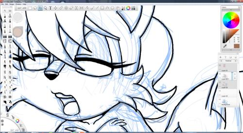 "kandlin:  Working with inking in Sketchbook Pro. Not loving the inking too right now. While sketching works fine, any long or smooth lines get all jacked by my hands. I'm sure there's a setting for this. Maybe a ""make more better art"" box I need to click.  Sketchbook doesn't quite have the stabilizer Sai has, but I think it has an line smoother (As in, it doesn't slow down the pen as you draw, but it corrects your line after you draw it). I'm wondering if its worth it to draw raster or vector. It's still a fantastic program. And it's free. (Just go to the autodesk student site, make some shit up (I used my old highschool pass) and.. voila. they give you links and licenses and tutorials up the wazoo.) You can even flip the program between Pro and Designer (tho why would you want to when Pro has more features) It even saves as photoshop files! The only sad thing is that it doesn't have a vector file format. I think it had 'cad'. I haven't really looked into it."