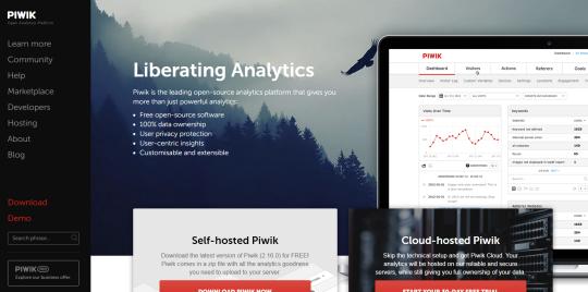 Piwik Analytics homepage image