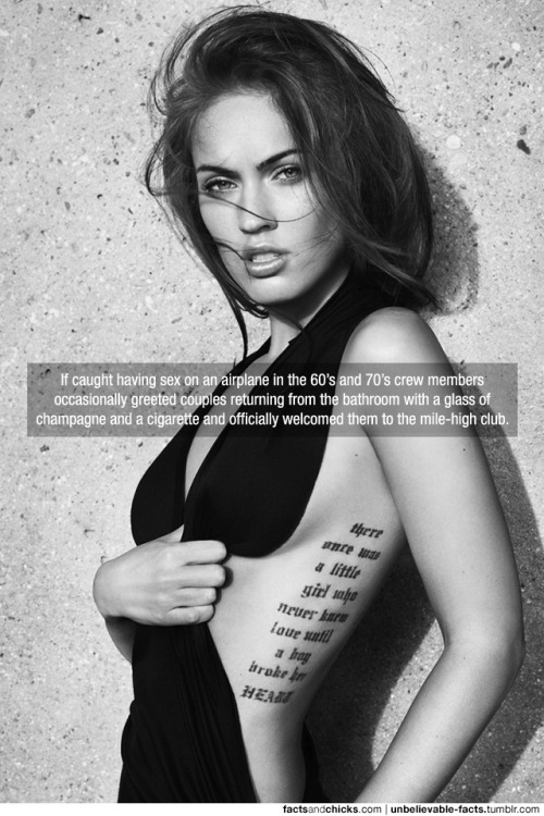 factsandchicks:  If caught having sex on an airplane in the 60's and 70's crew members occasionally greeted couples returning from the bathroom with a glass of champagne and a cigarette and officially welcomed them to the mile-high club. source via Unbelievable Facts check out other facts like this at Unbelievable Facts