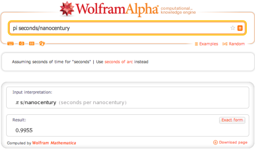 wolframalpha:  A nanocentury is about Pi seconds long.  Useful.