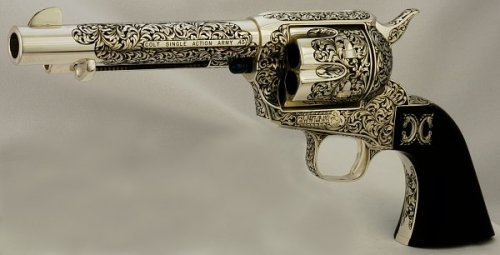purposetomelody:  One day, I'll own an engraved colt as breathtaking as this one. It was engraved by Leonard Francolini. You can find more of his work here. Every piece absolutely stunning.