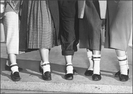 "Teen Fads, 1953 If a girl wears a dog collar on her left ankle, she is ""taken"", if she wears one on her right, she is ""on the lookout"" for a steady."