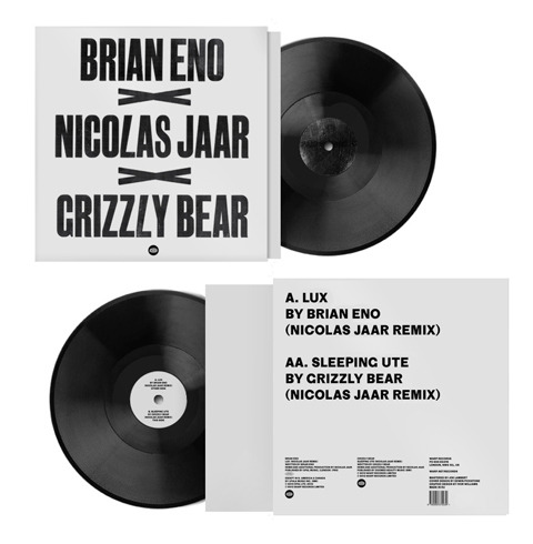 "Happy Record Store Day! Grizzly Bear and Brian Eno have a limited edition 12"" split featuring remixes by Nicolas Jaar. Information about the cover artwork:  Artwork designed by Edwin Pickstone & Ivor Williams on a FAG Control 525 Swiss-built semi-automatic cylinder proofing press in Glasgow. Type was a mix of 35 line sans condensed and 50 lined grotesque super-condensed and was left 80% black, deliberately broken print to echo the sentiment of remixes carrying the remnants of the original.  For more information about Record Store Day and where to find a participating store near you, click here!"