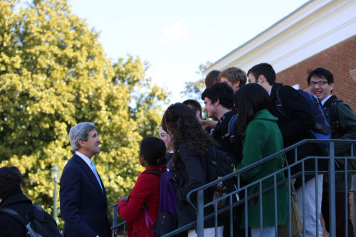 U.S. Secretary of State John Kerry meets with students at the University of Virginia in Charlottesville, Virginia, February 20, 2013. [State Department photo/ Public Domain]
