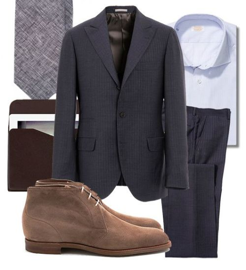Friday fit: EG chukkas + Cucinelli suit, via Manolo