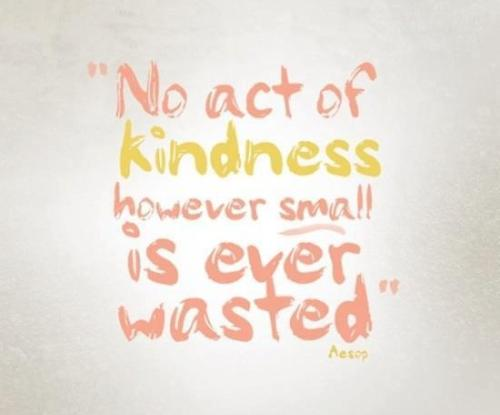 "mandelicious:  ""No act of kindness however small is ever wasted."" - Aesop"