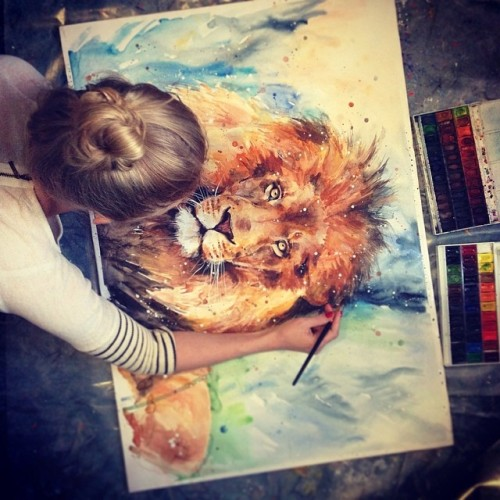 Gorgeous lion painting