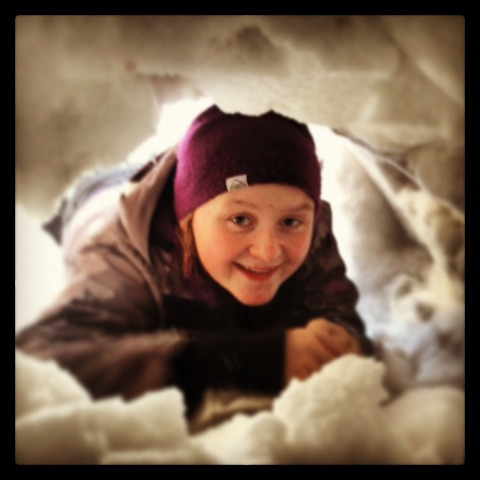 My BFF in a snow fort.  Haha