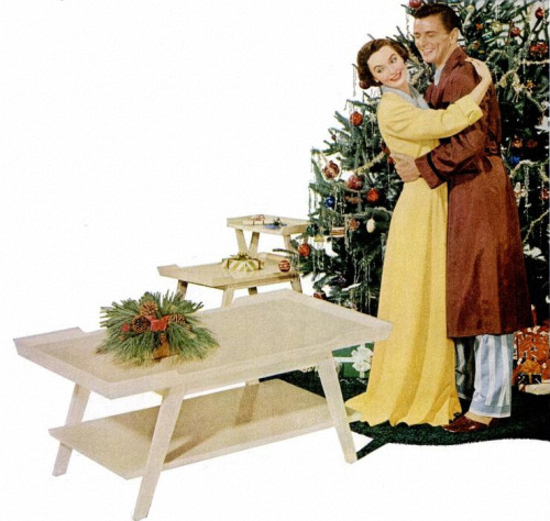 theniftyfifties:  A new Lane Furniture coffee table for Christmas! - 1953 advertising illustration.