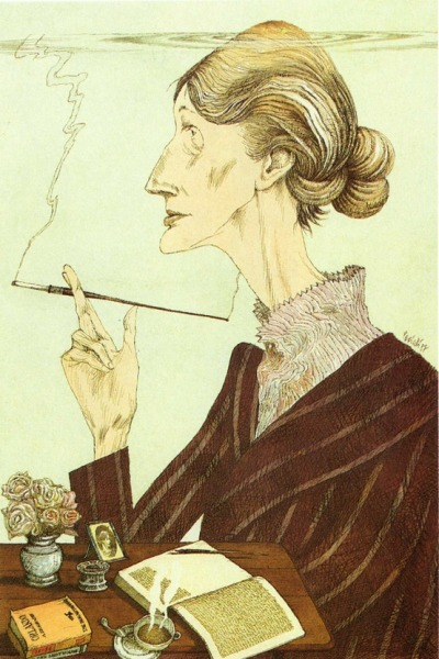 fuckyeahlesbianliterature:  [image description: an illustration of Virginia Woolf sitting at a table, smoking a cigarette in a long cigarette holder. On the table is a cup of tea, two books, and open notebook, a vase of flowers, and a framed photo of someone] fuckyeahvirginiawoolf:  Tullio Pericoli, Virginia Woolf, 1987